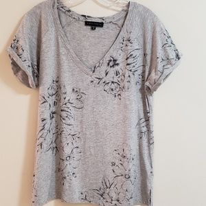 Sanctuary Foral-Etched Tee, Gray, Sz M